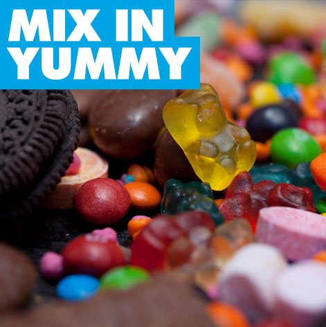 mix in yummy candies with ice cream